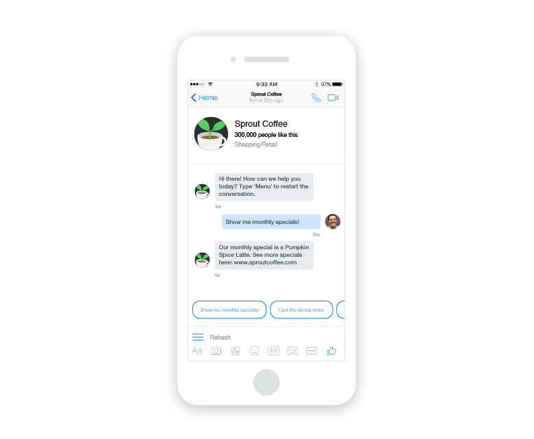 facebook messenger bot replies