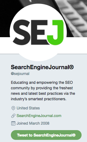nombre de usuario de search engine journal en twitter