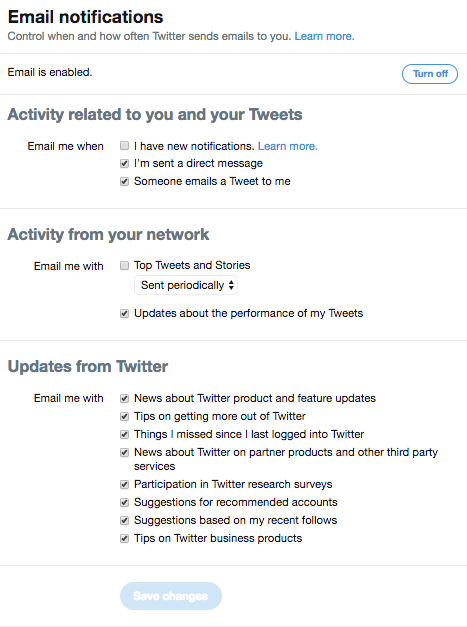setting up twitter notifications