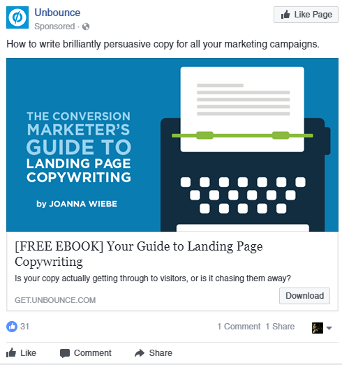 Facebook sponsored ad  A Quick & Comprehensive Guide to Facebook Remarketing unbounce