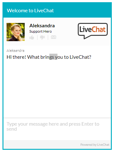 "LiveChat's ""Chat Now"" box"