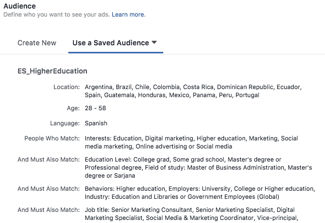 facebook targeting higher education example