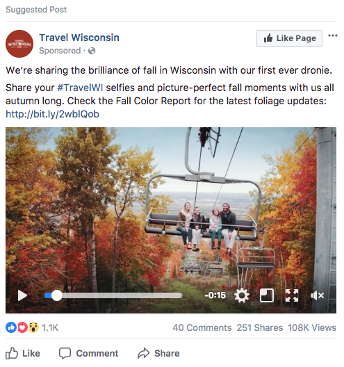 visit wisconsin ad example  7-Step Social Media Advertising Strategy to Better Performing Ads Screen Shot 2017 09 28 at 4