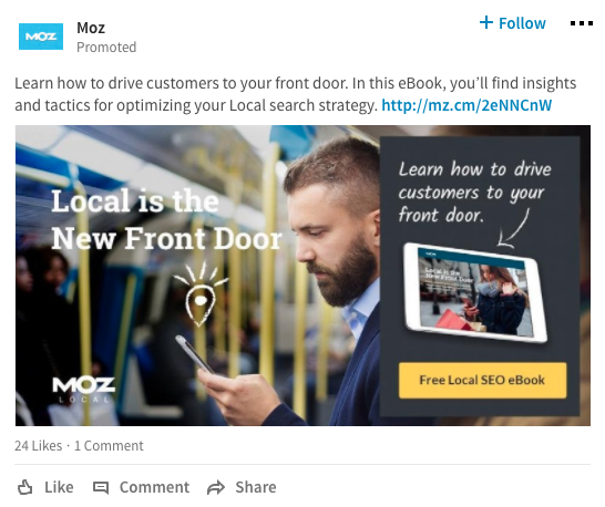 moz linkedin ad  7-Step Social Media Advertising Strategy to Better Performing Ads Screen Shot 2017 09 28 at 4