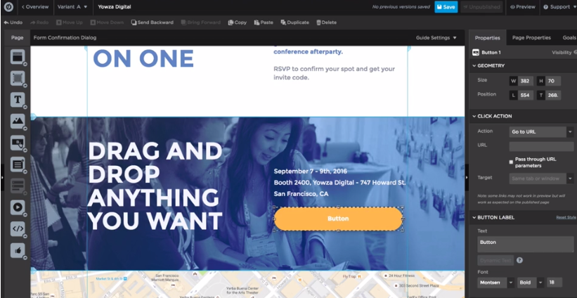 Unbounce's drag and drop functionality