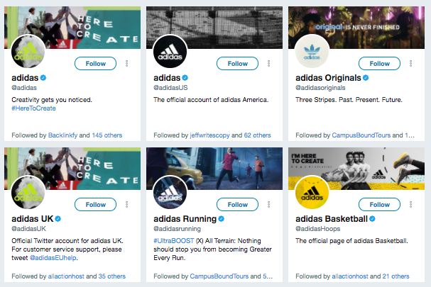adidas twitter accounts