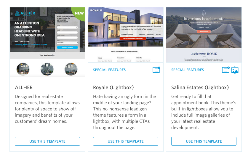 real estate landing page templates