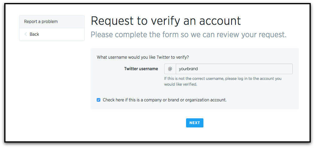 twitter verification step 1