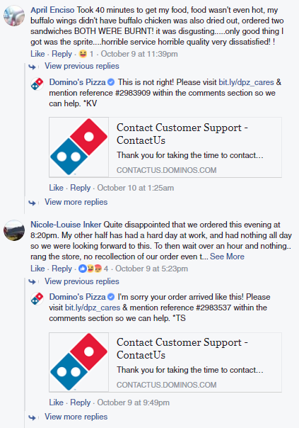 Dominos customer service Facebook