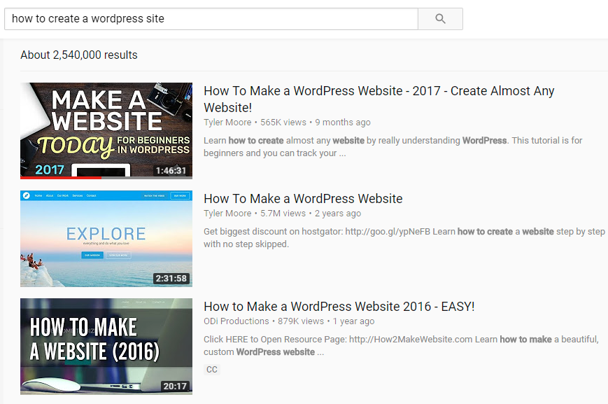 "YouTube optimized results for ""How to Create a Site in WordPress"""