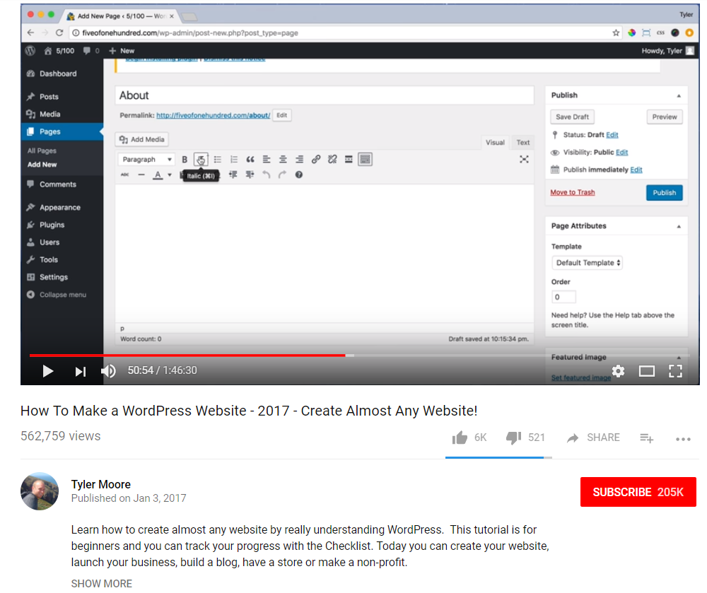 Screenshot of optimized YouTube tutorial