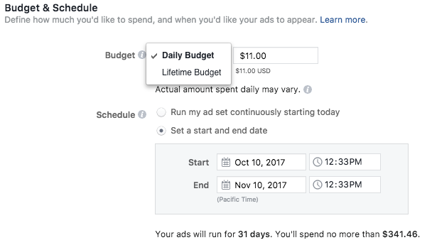 ad budget types on facebook ads manager