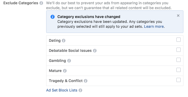 facebook ads manager exclude categories