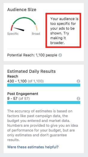facebook audience size example