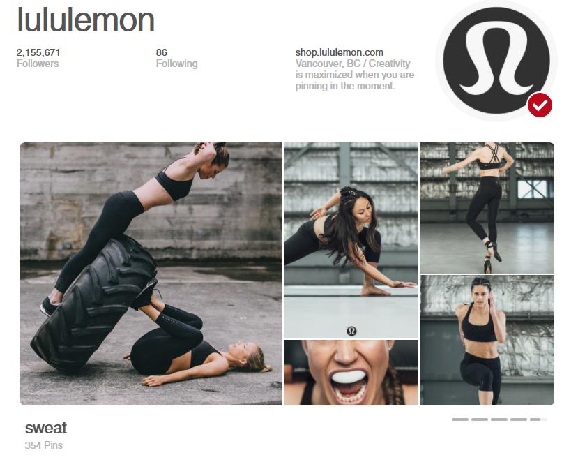 LuLuLemon tem um enorme Pinterest a seguir devido ao quão bem conhecem o seu público alvo
