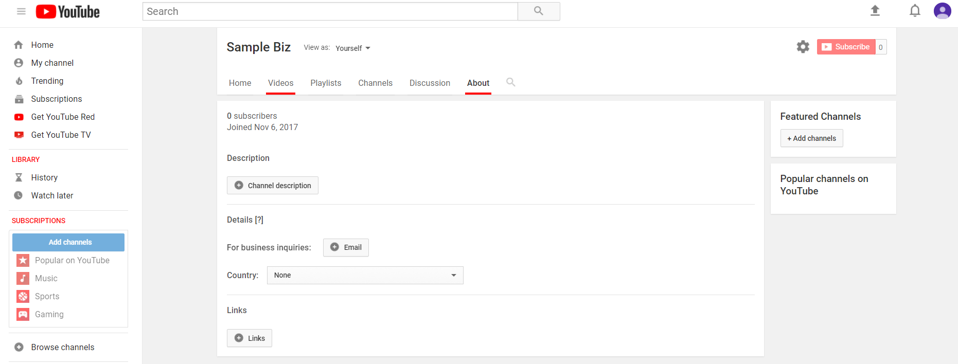 """Unedited YouTube """"About"""" page"""
