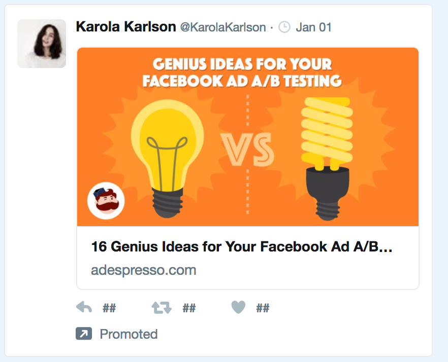 Example of a promoted tweet from AdEspresso