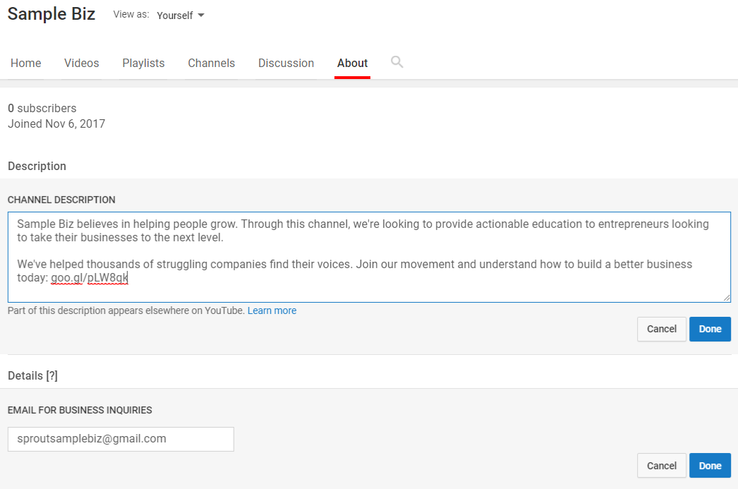 Editing your YouTube channel description