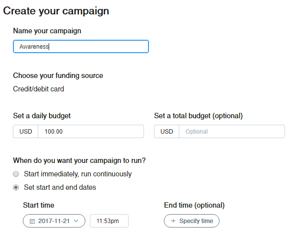 creating twitter ad campaign