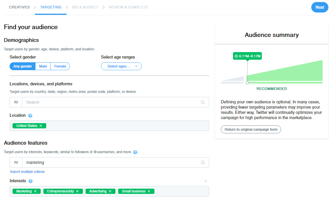 Narrowing down your Twitter advertising audience