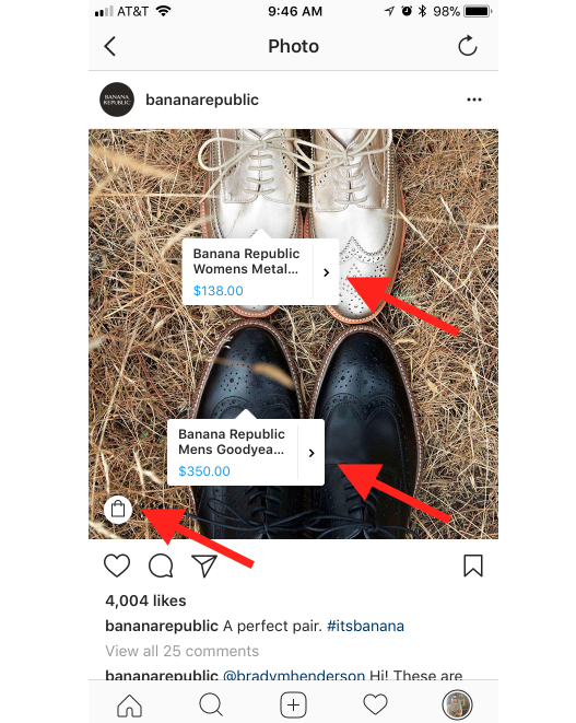 banana republic instagram shopping example