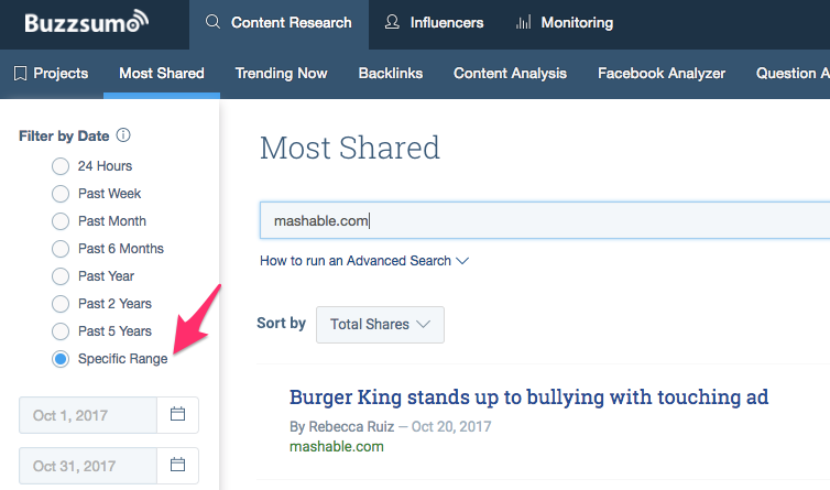 buzzsumo filter by date