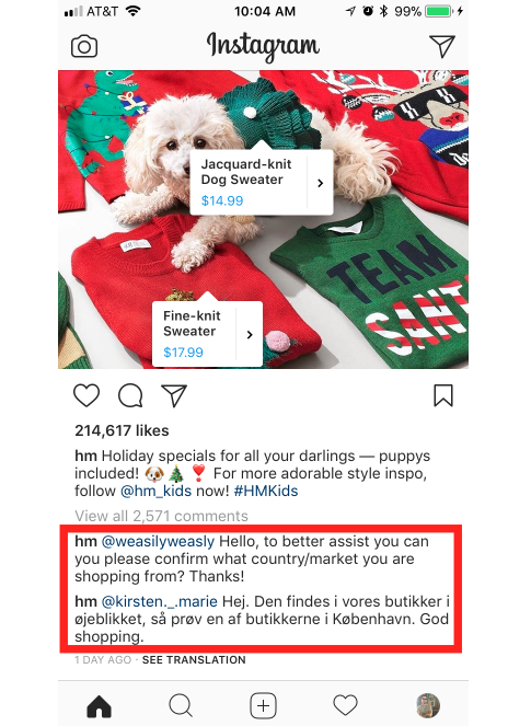 hm instagram shopping engagement