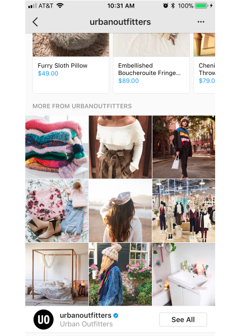 instagram urban outfitters options