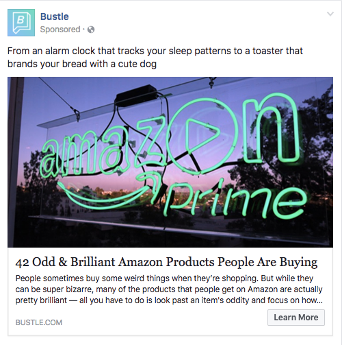 Example of a promoted post on Facebook