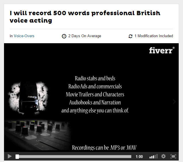 You can hire talent on Fiverr for voiceover work