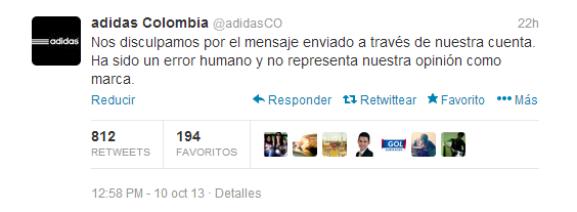 Adidas Colombia pide disculpas usando un tweet.