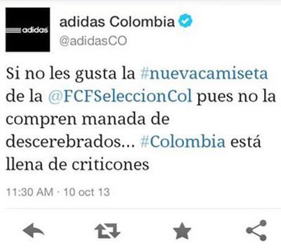 Tweet de Adidas Colombia.