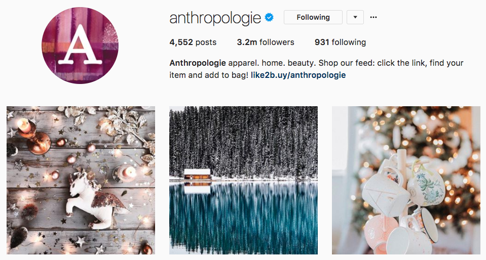 anthropologie instagram example