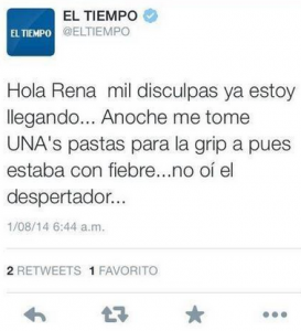 Tweet de El Tiempo. El Community Manager confundió su cuenta personal con la de la empresa.
