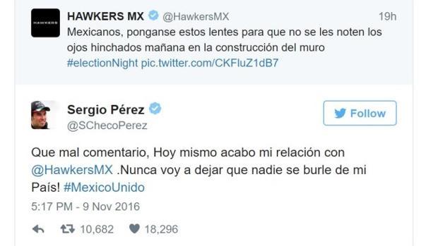 Desafortunado tweet de la empresa Hawkers MX.