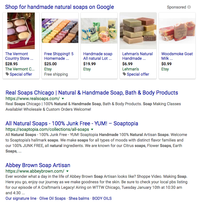 handmade natural soap search results