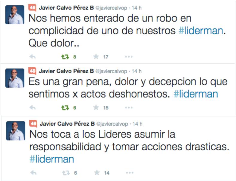 Tweets de Javier Calvo Perez reconociendo error de la empresa Liderman.