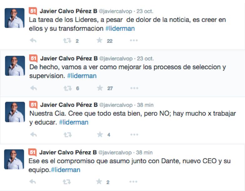 Tweets de Javier Calvo Perez sobre acciones que tomará la empresa Liderman.