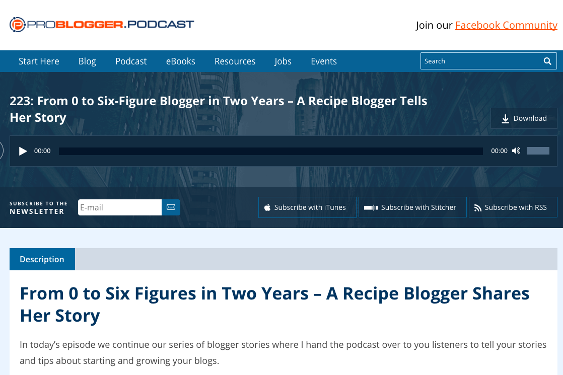 problogger podcast example