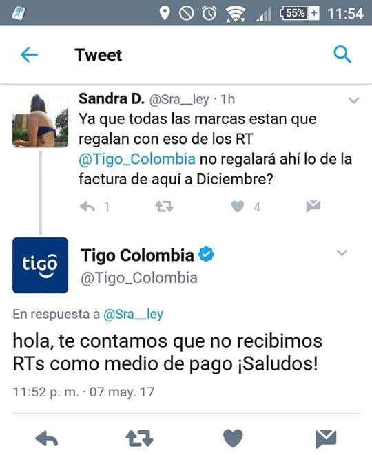 Tigo Colombia tweet