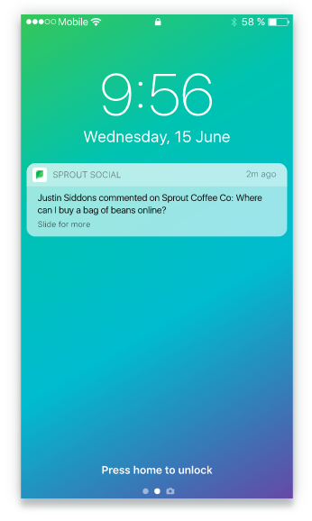 sprout social mobile notifications