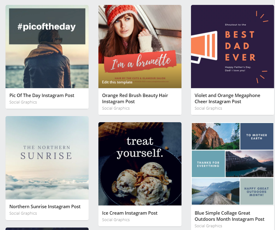 Canva provides users with a variety of templates for creative Instagram posts