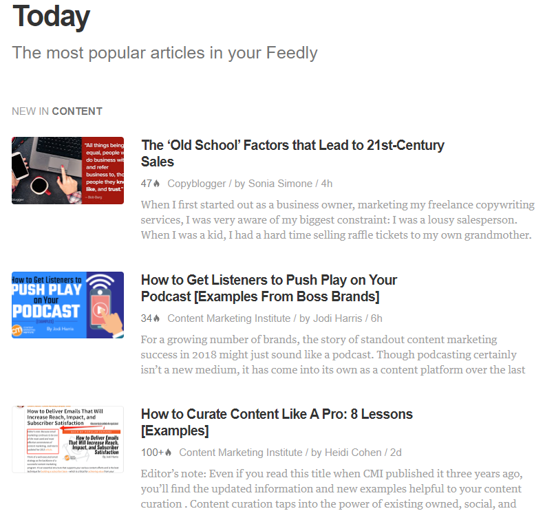 Feedly allows you to compile a list of popular industry content
