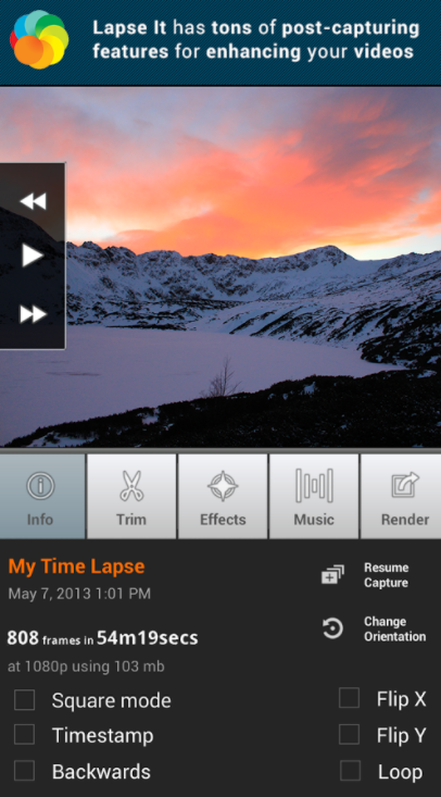 LapseIt has robust editing features for time lapse videos