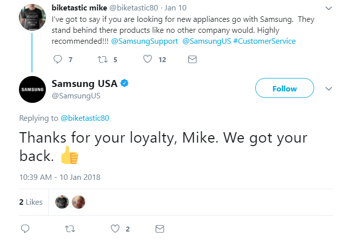 Brands like Samsung frequently thank their satisfied customers via social