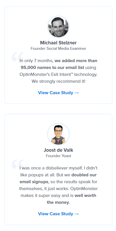 Customer testimonials signal your authority in the eyes of customers