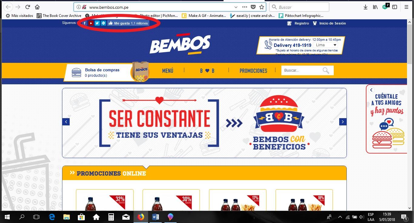 Página de Facebook de Bembos, cadena peruana de comida rápida.