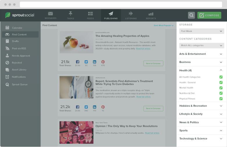 content suggestions screenshot