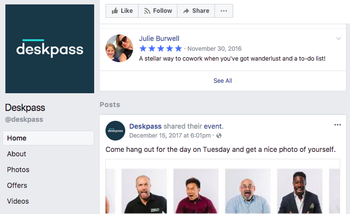 deskpass facebook reviews