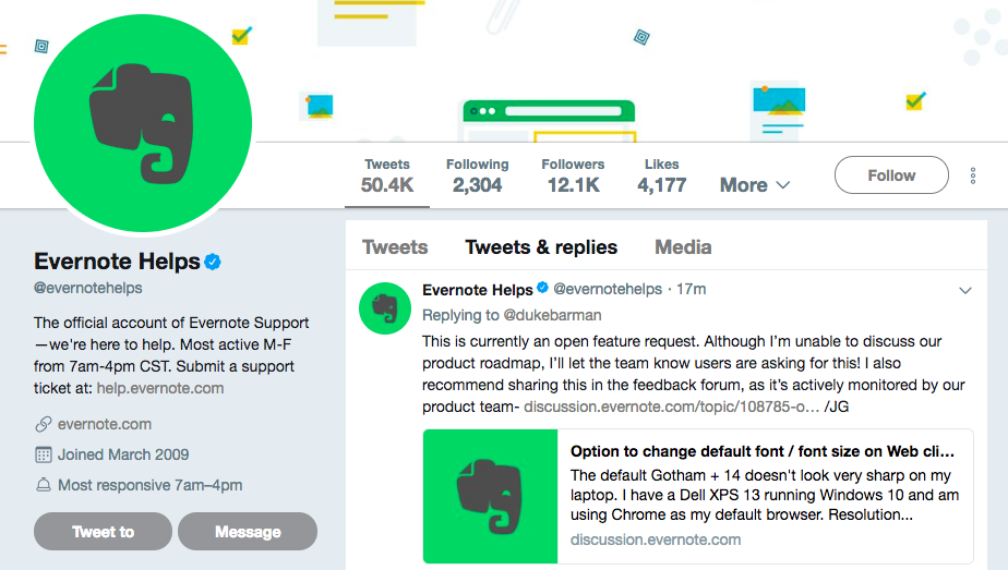 evernote twitter account